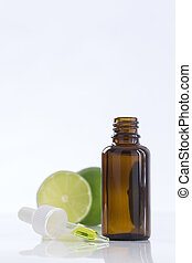 Aromatherapy essential oil bottle with lime