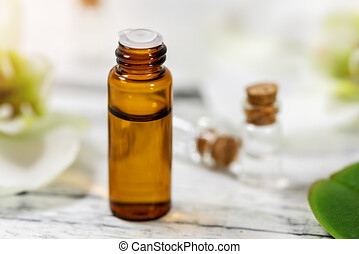 aromatherapy - floral essential oil bottle