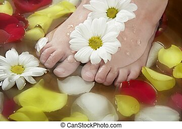 Aromatherapy, flowers feet bath, rose petal - Aromatherapy,...