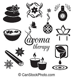 Aromatherapy icons - Set of black aromatherapy icons