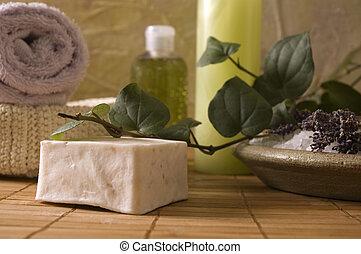 aromatherapy, items., lavendel, bad