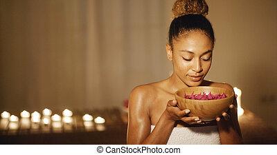 aromatherapy, kobieta, młody