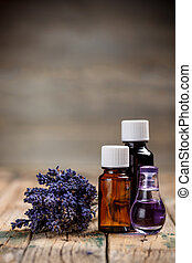 Aromatherapy oil and lavender flower