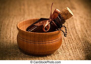 aromatherapy, oil., esencial, botella, vidrio