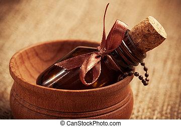 aromatherapy, oil., essenziale, bottiglia, vetro