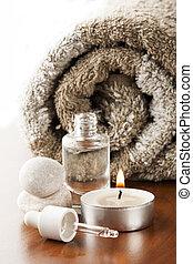 aromatherapy olie, en, kaarsje