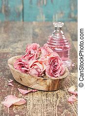 aromatherapy olie, masseren, roos