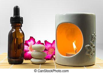 aromatherapy olie, met, de, zen, steen