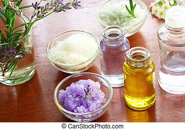 aromatherapy olie, zout, bad