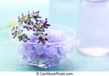aromatherapy olie, zout, lavendel