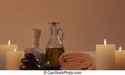 Aromatherapy, oriental massage and spa treatment concept. Relaxation composition background.