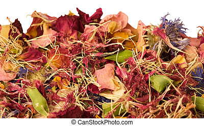aromatic potpurri mix of dried flowers for aromatherapy natural fragrance on white background