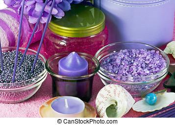 Aromatherapy - salt, cream and shampoo for aromatherapy