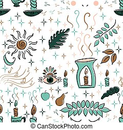 Aromatherapy seamless pattern. Elements for spa isolated on white. Sketch doodle