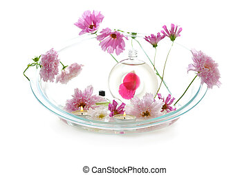 aromatherapy with pink flowers
