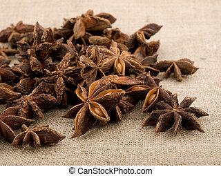 Closeup picture of aromatic anise on linen background