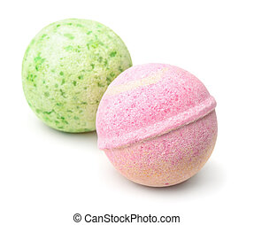 Aromatic bath bombs isolated on white