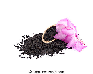Aromatic black tea and pink flower on white