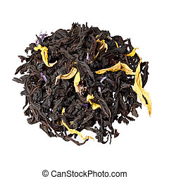 Aromatic black tea leaves with sunflower and cornflower petal