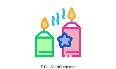 aromatic burning candles Icon Animation. color aromatic burning candles animated icon on white background