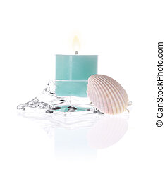 aromatic candle and shell