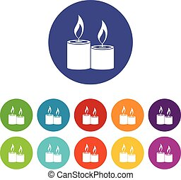 Aromatic candles set icons