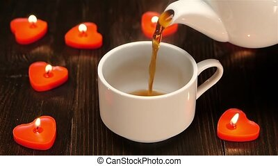 Aromatic coffee at the breakfast for a loved one. Closeup -...