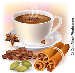 Aromatic coffee with spices. Contains transparent objects....