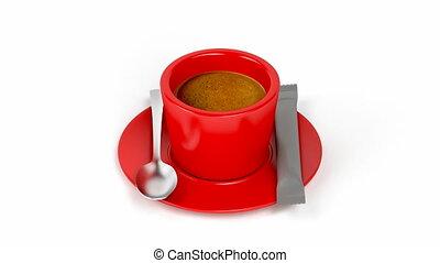 Aromatic espresso coffee on white background
