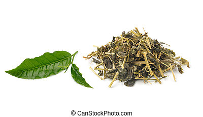 aromatic green tea, isolated on white background