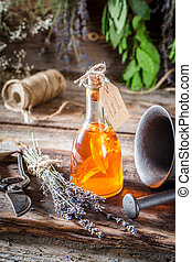 Aromatic herbs in bottles as an alternative cure