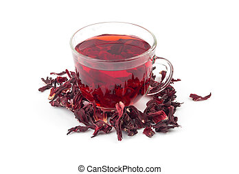aromatic Hibiscus tea isolated on white