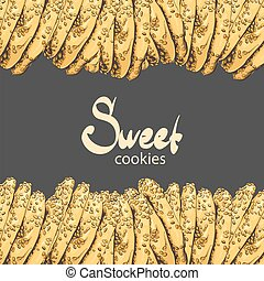 Aromatic oatmeal cookies on a black background