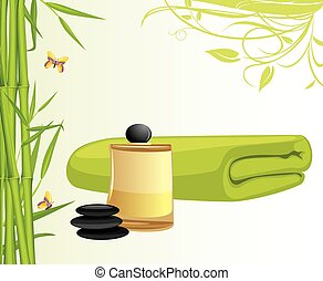 Aromatic oil and bamboo bath towel. Vector illustration