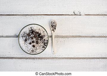 Aromatic spa coffee set with sea salt