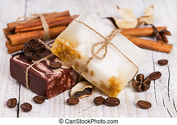 Handmade soap with cinnamon and coffee.