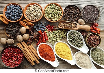 Aromatic spices. - Aromatic spices in metal and ceramic ...