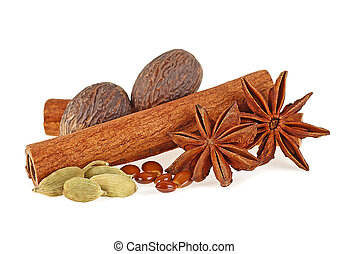 Aromatic spices isolated on a white background
