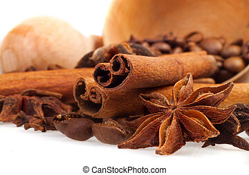 aromatic spices on a white background