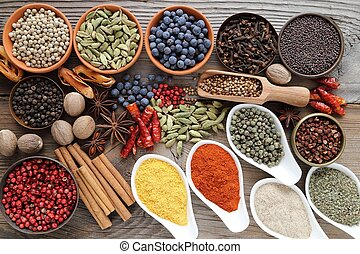 Aromatic spices. - Aromatic spices in metal and ceramic...