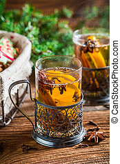 Aromatic tea and gingerbread for Christmas