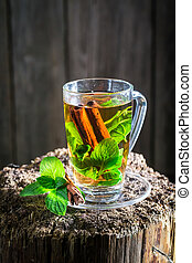 Aromatic tea with green leaves and cinnamon bark