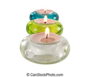 aromatique, trois, bougies