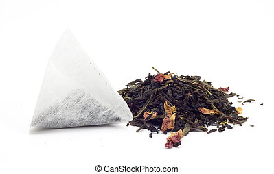 aromatisation of black tea with tea bags, on a white ...