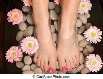 aromatyczny, odprężając, stopa wanna, pedispa