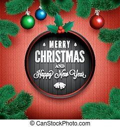 around., ブランチ, パターン, 松, 編まれる, 陽気, 年, 新しい, メッセージ, クリスマス, 幸せ