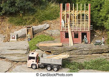 around., 장난감, 정원, 존재, 집, house., 목공, 건축되는, 은 계산한다, 기대하다, 재건, 새 모델, 너의, roof.