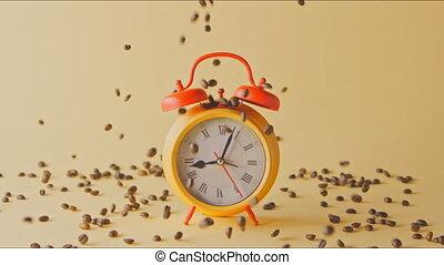 around., automne, haricots, rôti, réveille-matin, café, ...