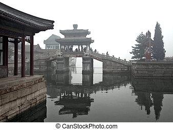 around Beijing - rainy scenery with traditional buildings,...