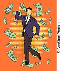 around., concept, art, reussite, business, danse, argent, voler, illustration, vecteur, pop, financier, comique, homme, style., retro